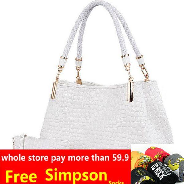 2019 Fashion 2pc/set Fashion crocodile borse women totes lady handbag+purse/wallet carteras mujer large capacity black white shoulder kit