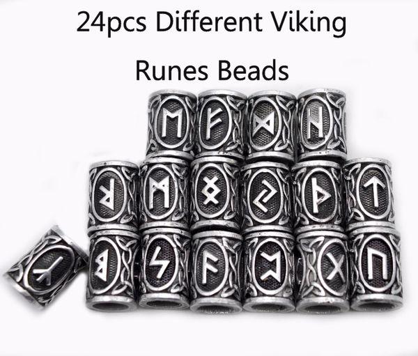 Toda venda24 pcs Top de Prata Norse Viking Runes Encantos Beads Descobertas para Pulseiras para Colar de Pingente de Barba ou Cabelo Vikings Rune Kits