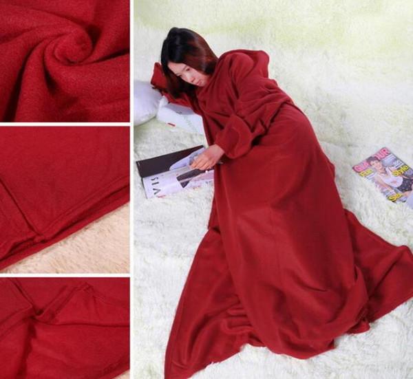 3 color 170 135cm oft warm fleece blanket robe cloak with cozy leeve wearable leeve blanket wearable blanket 3 color
