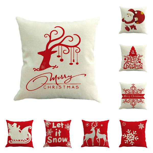 Buon natale cuscini caso lino copertura del cuscino renna alce tiro cuscino albero divano cuscino copre Babbo natale decorazioni di natale
