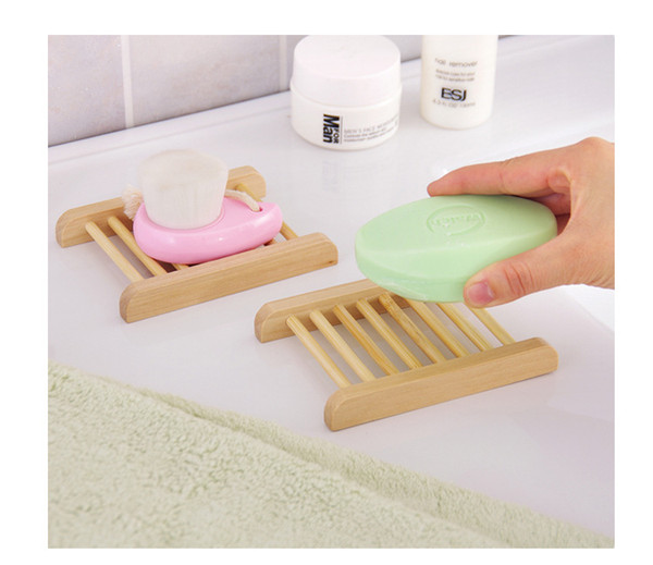 Wooden Natural Bamboo Soap Dish Tray Holder Storage Soap Rack Plate Box Container for Bath Shower Plate Bathroom BH144