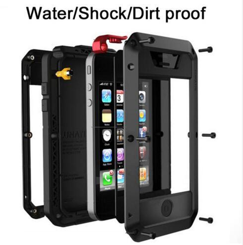 Luxury Shockproof Heavy Duty Dropproof Waterproof Metal Case with Gorilla Glass Aluminum Cover Cell Phone For iphone x 6 7 8 plus DHL