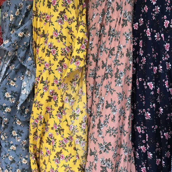 SUJASANMY Viscose With Cotton Printed Wild Floral Bloom Dress Tissu Sewing Textile Fabric Skirt Meter Cloth Small Flower