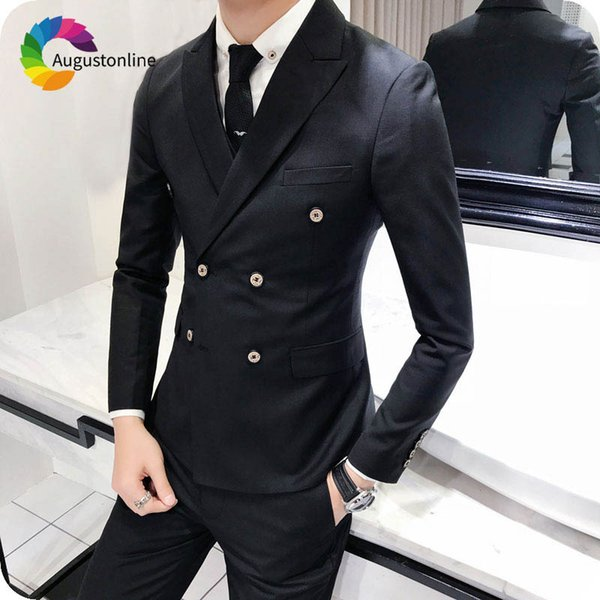Black Men Suits for Wedding Navy Blue Groom Tuxedo Peaked Lapel Double Breasted Man Blazers Slim Fit Terno Masulino Costume Homme 2Pieces