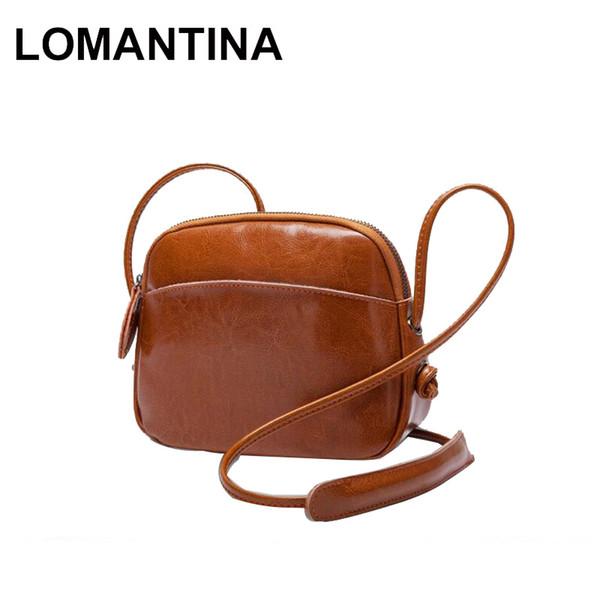 LOMANTINA Oil Wax Cowhide Leather Women's Cross Body Bag Spring Summer Fashion Crossbody Single Messenger Shoulder Bags