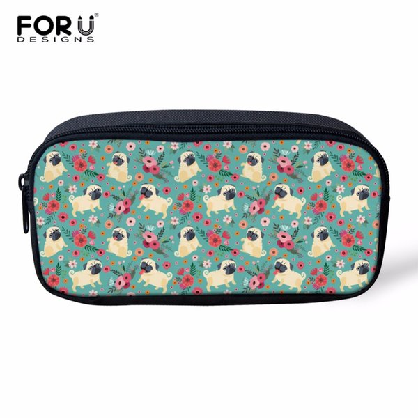 FORUDESIGNS Pud Dog Flower Women Make up Cases Cosmetic Bags 3D Pencil Pouch Children Girl Holder Boys Travel Portable Supplies
