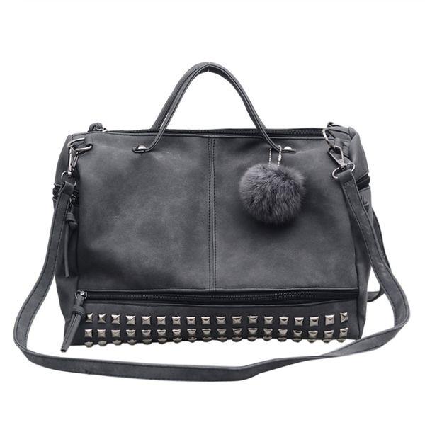 Vintage nubuck leather women handbag rivet larger women bags grey and black wholesale fashion girl Motorcycle bag
