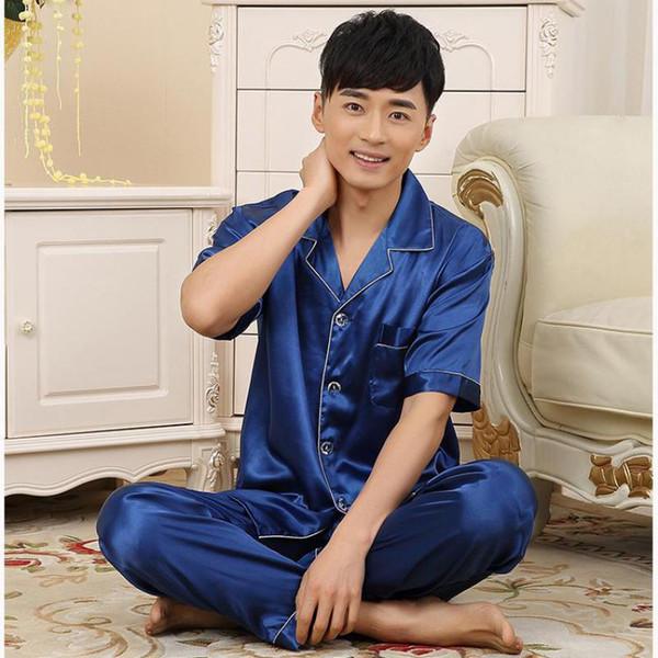 6218b7b6994fa ... manga corta ropa de dormir conjunto para hombres traje de pijama sólido  más tamaño 2 piezas ropa de dormir L XL XXL 3XL camisa casual ropa para el  hogar