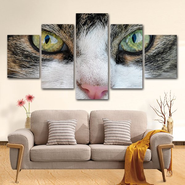 5 Pcs Cute Animal Cat Eye Posters And Prints Home Decor Wall Art Picture Canvas Painting Cuadros Decocation No Frame