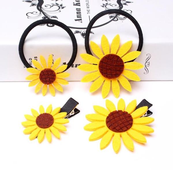 Precioso girasol bandas elásticas para el pelo pinza de pelo barrettes para niñas diadema hecha a mano Scrunchy niños accesorios para el cabello