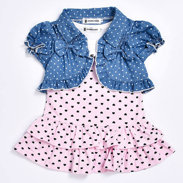New 2018 summer baby girl dress Cute sleeveless dress with small heart+ short cardigan 2/pcs Newborn baby girl clothes set