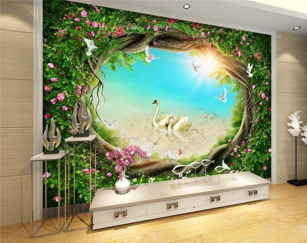 Compre Custom Photo Wallpaper 3d Fantasy Fairy Tales Bosques Cisne Mural Sala De Estar Tv Fondo Pintura De La Pared Kids Bedroom Wallpaper A 2413
