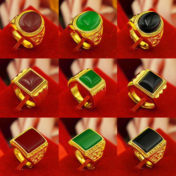 Anillo al por mayor de ágata de oro de la arena de oro amarillo plateado de larga duración de los hombres al por mayor anillo de oro de 24 quilates