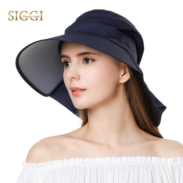 SIGGI Women Summer Sun Hat cotton Cap chapeu feminino praia chapeau femme bill neck flap UV upf 50+ large brim fashion 68035 S18101708
