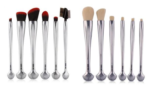 6 unids Tubo de aluminio plateado Lana Pinceles de maquillaje Blush Foundation Brush Diseños de conchas Sombras de ojos profesionales Pestañas Set de pinceles