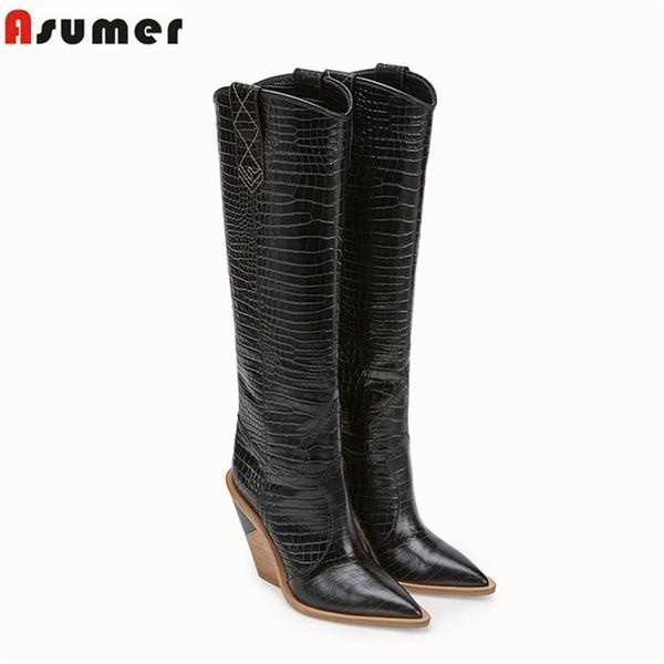 ASUMER große größe 34-43 mode kniehohe stiefel frauen spitz keile schuhe high heels herbst winter stiefel 2019 neue