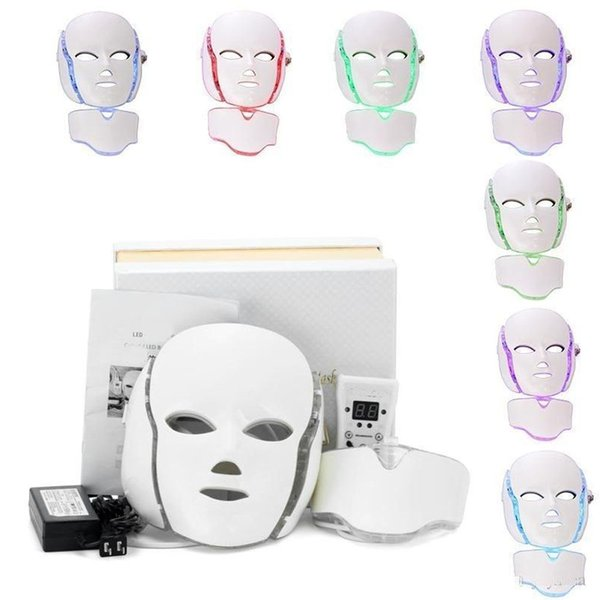 LM001 PDT 7 LED light Therapy face Beauty Machine LED Facial Neck Mask With Microcurrent for skin whitening device free shipment