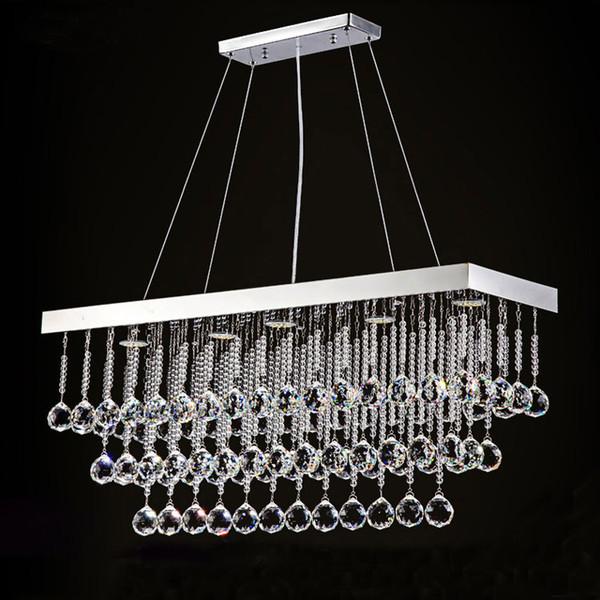 Luxury LED Crystal Chandelier Light Lamp Rectangular Crystal Rain Drop Pendant light fixture for Living Room Bedroom
