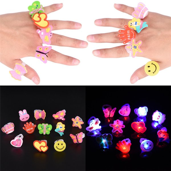 10pcs Cartoon Blinking Rings Flashing LED Light Glow Finger Jewelry Party For Child Children's Day Christmas Halloween