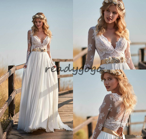 Vintage Bohemian Wedding Dresses with Long Sleeve 2018 Modest Fairy Flowy Lace Chiffon Champagne Belt Country Garden Bridal Dress