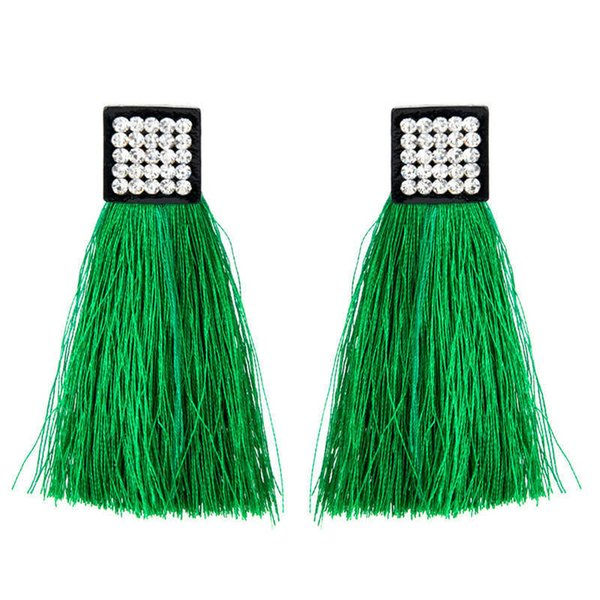 Exaggeration Tassel CZ Crystal Square Drop for Women Statement Fringing Long Earrings Bohemian Jewelry brincos haif