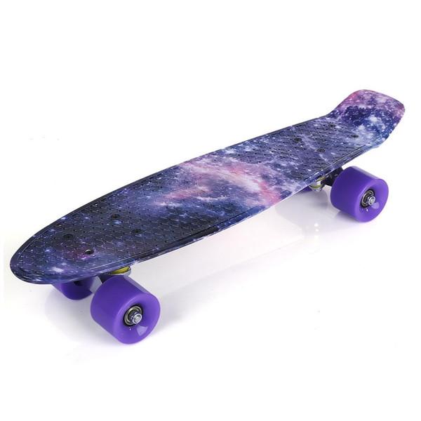 22 inç Yıldız Desen Dört-tekerlek Uzun Kaykay PP Plastik Kurulu Güverte Skate Uzun Kurulu Grafik Galaxy Komple Oğlan Kız Led Işık