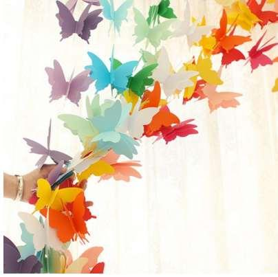 Hanging Butterfly Bunting Banner Flags Colorful Christmas Wedding Party Banners Paper Garlands Home Decoration Supplies 2 5m Party Decoration Themes