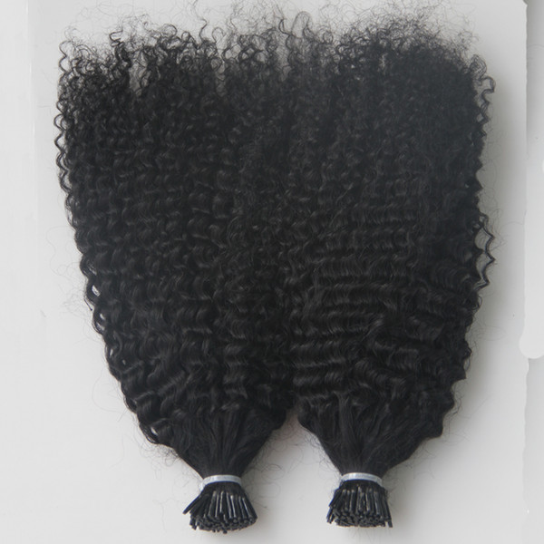 Virgin Mongolian Afro Kinky Curly Hair Whole head 200G I Tip Human Hair Extensions Pre Bonded keratin stick tip hair extensions 200S
