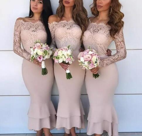 Cheap Mermaid Cream bridesmaid dresses petite sizes With sleeves Sexy Off Shoulder Lace Maid Of Honor Dresses Evening Wear country Junior