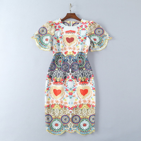 2018 Ladies Luxury Rhinestone Floral Print Embroidery Lace Round Neck Mid-Calf Dresses Women Short Sleeve Fashion Runway Dresses 180118