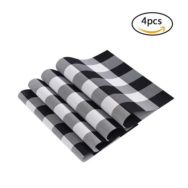 12 * 18 inches PVC Heat-resistant Plaid Woven Placemat Stain-resistant Anti-skid Washable Dining Table Mats Placemats--Set of 4 Black