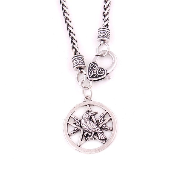 Viking Necklace Women Men Jewelry Crow Raven Pentacle And Crescent Pattern Wheat Link Chain Zinc Alloy Provide Dropshipping