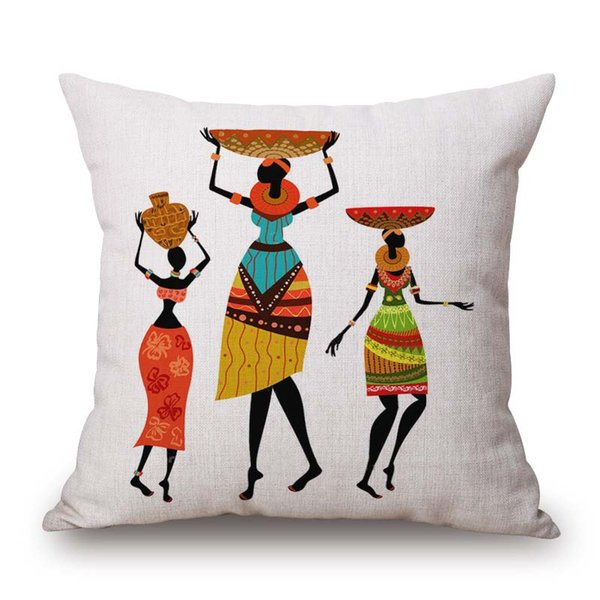 African Lady Dancing Girl Happy Time Cushion Covers 8 Styles Colorful Cloth Beige Linen Pillow Covers Sofa Chair Decoration