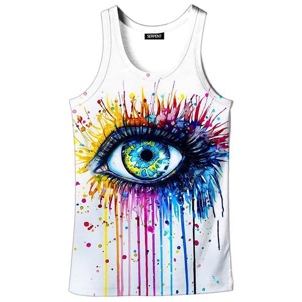 3D Printed Vest Women Art Clothing Vests 3D Sports vest Graffiti Big Eye 3d Print Sleeveless Fitness Summer Tank Top