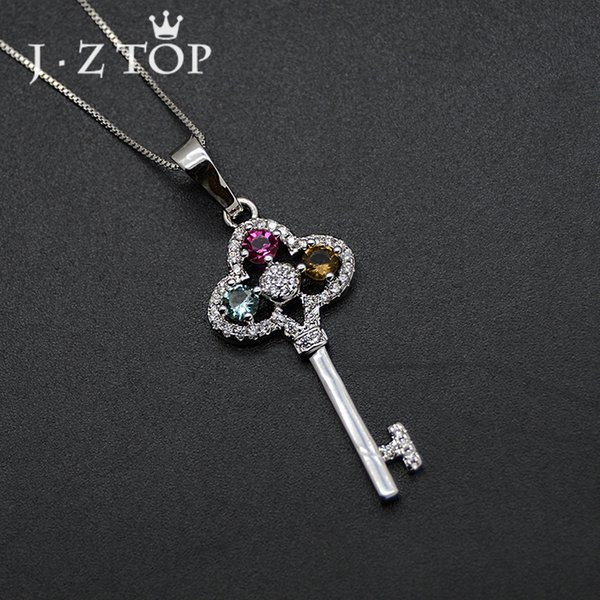 wholesale Luxury Multicolor Crystal Key Necklaces Woman Silver Color Micro Pave Zircon Choker Necklace Female Wedding Jewelry
