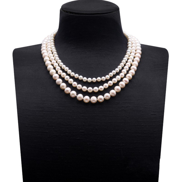 """JYX Natural Pearl Necklace Triple-strand Multi-size Round White Freshwater Pearl Necklace 18"""""""