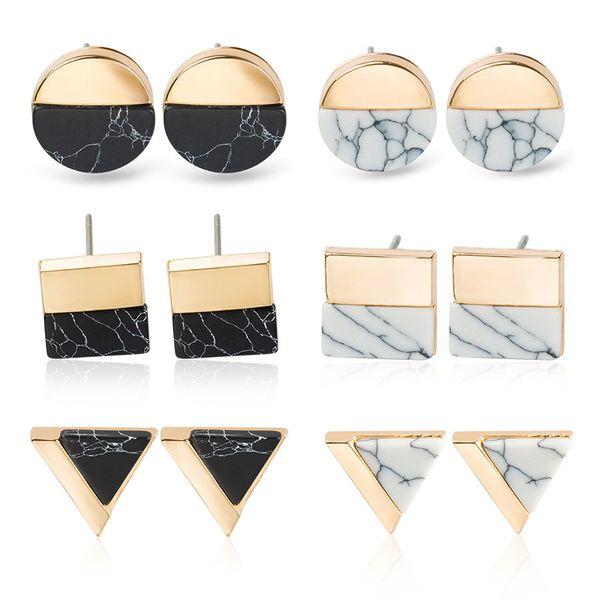 Brinco Geométrico Rodada Quadrado Triângulo Branco Kpop Pedra De Mármore Brincos Mulheres Jóias de luxo Simples Rodada Brincos De Pedra Natural