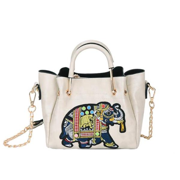 المرأة حقيبة يد جلدية حقيبة الماركات الشهيرة مصمم السيدات عارضة خمر التطريز الفيل الإناث الكتف أكياس crossbody