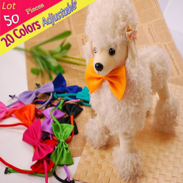 Wholedale 50 PCS/ LOT Adjustable 20 Color Solid Bow Tie Plain Neck Ties For Pet Dog Puppy Bows Clothing Accessories Necktie