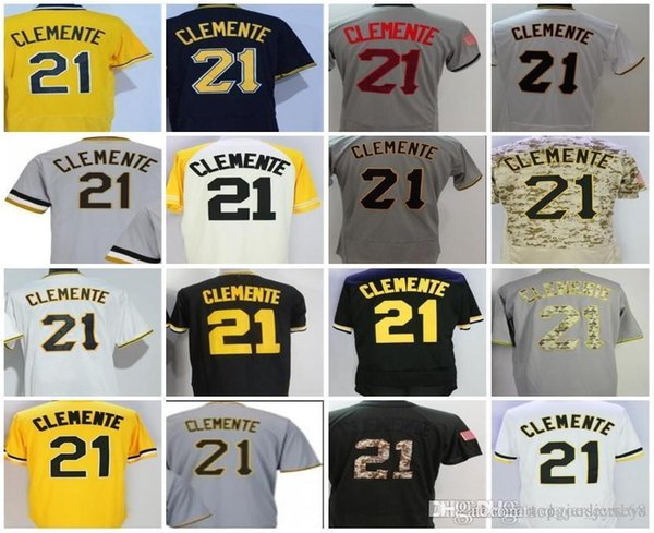 free shipping 61f46 1ecb8 2019 Men Women Youth Jerseys 21 Roberto Clemente White Grey Black Yellow  Camo Beige Cheap Cool Flex Base Adults Lady Baseball Jerseys From ...