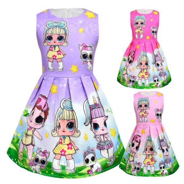 3 Colores Bebé Niñas Vestido de Niña de Dibujos Animados Muñeca Floral Vestido Impreso de los Niños Sin Mangas Princesa Vestido de Bebé Ropa CCA10183 12pcs