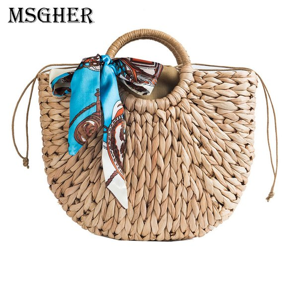 MSGHER Straw Bags Summer Handmade Bags For Women Woven Bow Tie Fashion Casual Tote Large Shopping Ladies Handbag WB877