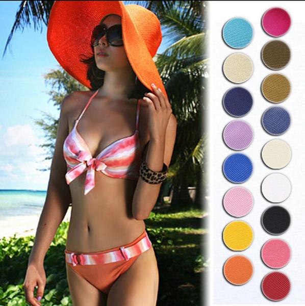 Grande paille de soleil Sun Straw Beach Hat Cap femmes large Panama Beach Chapeaux Panama 17 couleurs EEA70