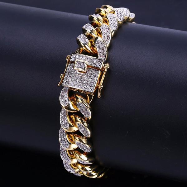 7 pouces 8 pouces Deux tailles Hip hop glacé Zircon Cubain Chaîne Bracelet Bijoux Hommes Cuivre CZ Cubain Bracelet DB002