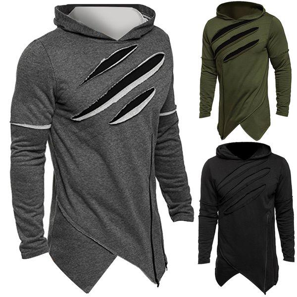 2018 Autumn Fashion Men's Hoodies Zipper Irregular Hooded Hip-hop Streetwear Sweatshirts Cool Men Hoodie Pullovers Plus Size 3XL