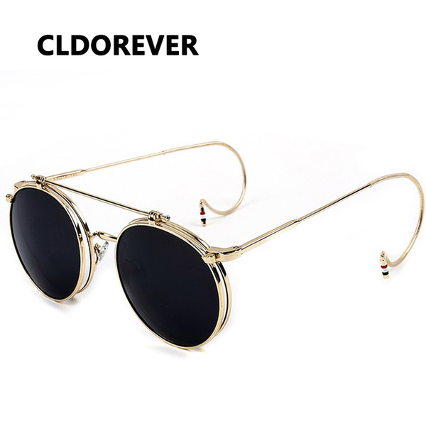 Hot Sale 2018 Vintage Steampunk Sunglasses Metal Steam Punk Goggles Retro Round Sun Glasses For Women Men Brand Designer Gafas