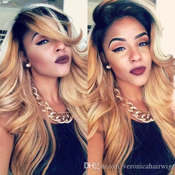 Sexy Ombre 1b / 613 # Mix 27 # Pelucas onduladas del cuerpo largo del cordón con pelucas sintéticas a prueba de calor del frente del cordón del bebé del pelo para las mujeres negras