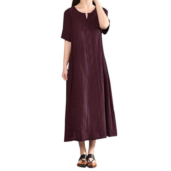 New Arrival Women Dress Plus Size Bohemian Style Ladies Straight Dress  Casual Solid V Neck Short Sleeve Cotton Linen Dresses Sweater Dresses Lace  ...