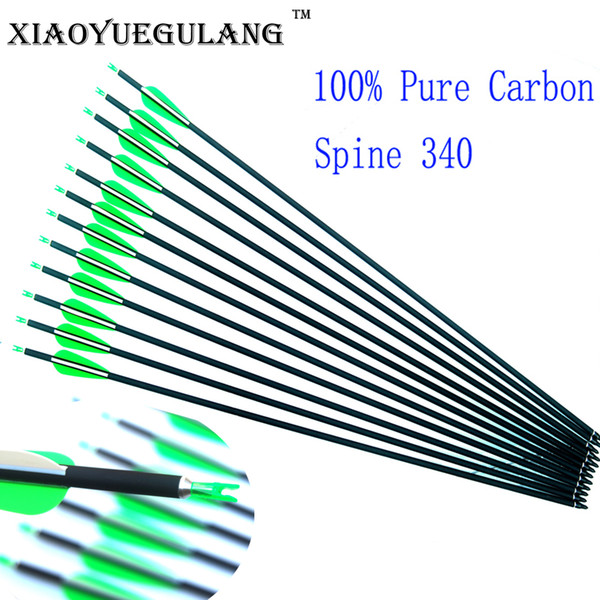 76cm Spine 340 100% Pure Carbon Arrows with Plastic Feathers OD7.6mm for Recurve/Compound Bow Hunting/Shooting Archery