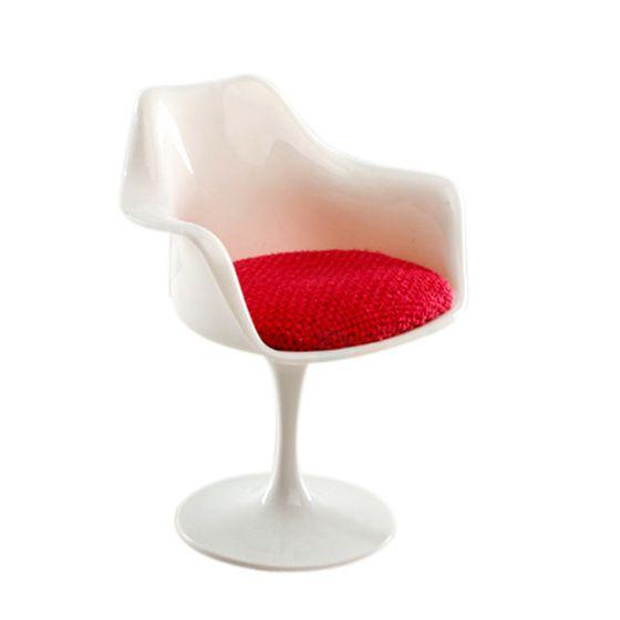 ABWE Best Sale 1:12 Scale Plastic Tulip Armchair Swivel Chair for Dollhouse Miniature Decor White & Red